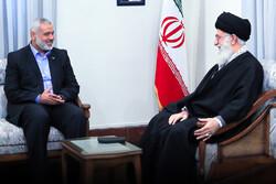 Ismail Haniyeh, chairman of the Hamas Political Bureau and  Leader of the Islamic Revolution of Iran, Ayatollah Seyed Ali Khamenei