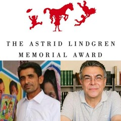 This combination photo is of a logo of the Astrid Lindgren Memorial Award and the Iranian nominees Jamshid Khanian (L) and Abdolhakim Bahar.
