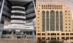 This combination photo shows views of the National Library of Indonesia (Perpusnas) and the National Library and Archives of Iran.