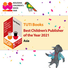 A poster features Tuti Books from Iran as the 2021 winner of the BOP - Bologna Prize for the Best Children's Publishers of the Year in Asia.