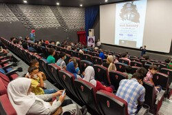 """Gorgan-based Kazakh people attend a screening of the documentary """"Wot Bassey"""" about their customs in Iran in the northeastern Iranian city of Gorgan on July 3, 2021."""