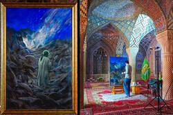"""This combination photo shows artist Hassan Ruholamin drawing """"Jabal an-Nur"""" about the Prophet Muhammad (S) at Nasirolmolk Mosque in Shiraz on July 7, 2021 and the painting after completion."""