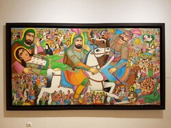 A teahouse painting by Mohammad Farahani is on display in an exhibition at the Iranian Artists Forum in Tehran.