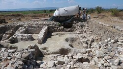An excavation site in northwestern Turkey, where archaeologists find a relief depicting a war scene between the Greeks and Persians in the fifth century BC, August 16, 2021. (PHOTO: Hurriyet Daily News)