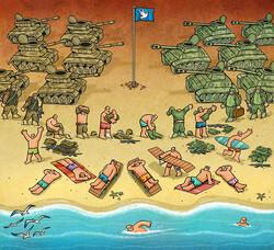 A cartoon by Iranian artist Alireza Pakdel won the Bielsko-Biala award at the 21st Kragujevac Salon of Antiwar Cartoon in Serbia.