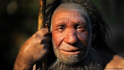 File photo depicts a hyperrealistic face of a Neanderthal male