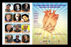 This combination photo shows a poster for the jury of the 2nd International Organ Donation Cartoon Competition and a poster for the Turkish contest.