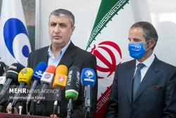 Chief of the Atomic Energy Organization of Iran (AEOI) Mohammad Eslami and IAEA Director General Rafael Grossi