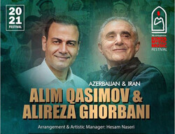 A poster for a joint concert by vocalists Alireza Qorbani and Alim Qasimov at the 18th edition of the Konya International Mystic Music Festival in Turkey. (Sahar Naebi)